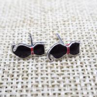 925 Children Silver Jewellery Cute Cat Ear Studs With Black Epoxy for sale