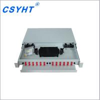 China 19 Inch 1U Fiber Optic Patch Panel Telecom Drawer Slidable SC/FC/LC/ST Adapter for sale
