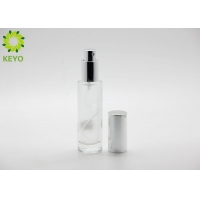 Round Frosted Flat Shoulder Glass Bottle 30ml 60ml 80ml With Pump Lotion Cap for sale
