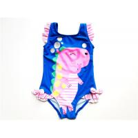 Young girl blue swimsuit/little girl lovely dinosaur printed swimwear/one piece bathing suit with bow and frill