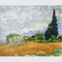 China Handmade Vincent Van Gogh Oil Paintings Reproduction Wheat Field with Cypresses for sale