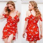China China Clothing Manufacturers Service Womens Slip Custom Red Short Chiffon Flower Dress Mini for sale