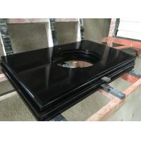 Polished Pure Black Quartz Laminated Counter Tops calacatta quartz countertop for sale