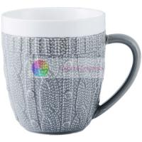 425ml Embossing Personalized Ceramic Coffee Cups Custom Ceramic Cups for sale