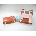 China Handicraft Luxury Cosmetic Box /  Multi Color Leather Makeup Case With Mirror for sale