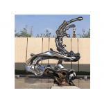 Unique Modern Artwork Polished Stainless Steel Sculpture , Metal Wave Sculpture for sale