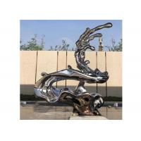 China Unique Modern Artwork Polished Stainless Steel Sculpture , Metal Wave Sculpture supplier