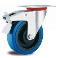 China 5 inch rubber caster wheels with brakes for sale