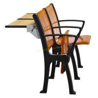China Walnut Wood Interlocked Folding Up Metal Leg Amphitheater Chairs With Hidden Table for sale
