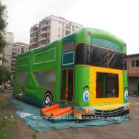 China Commercial grade giant bus inflatable bouncer with slide N pillars inside for kids fun entertainments for sale