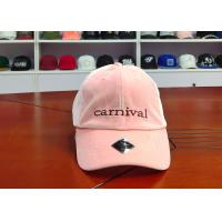 Velvet Fabric Pink 6 Panel Baseball caps With Embroidery Logo / Curve Bill Hats for sale