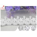 3CM African Mesh Embroidered Bridal Lace / Nylon Or Polyester Wedding Lace Trim for sale