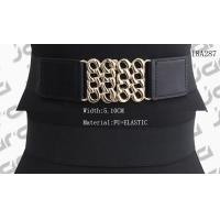 Wide Black Womens Stretch Belts Gold Hollowed Buckle Available 5.1cm Width for sale