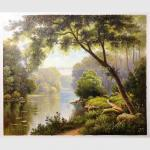 China Paintings Of Landscapes Scenery Fresh Forest Modern Abstract Wall Art Oil Painting for sale