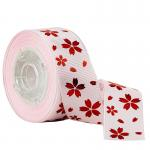 Foil Red Gold Flower On Pink Printed Grosgrain Ribbon For Holiday Decoration for sale