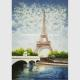 Contemporary Palette Knife Painting  Eiffel Tower Covered With Thick Plastic Layer for sale