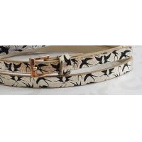China Metallic Shiny PU Childrens Designer Belts For Kids With Black Birds Printing In 1.10cm supplier