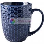 European Style Embossed Coffee Mugs Lightweight 550ML Nest Grain Type for sale
