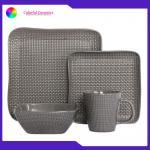 China Western tableware set embossed coffee mug Square plate ceramic sala bowl for sale
