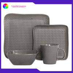 China Western tableware set embossed coffee mug Square plate ceramic sala bowl manufacturer