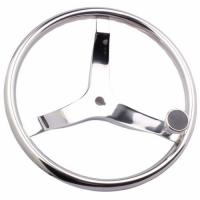 China Stainless Sailboat Steering Wheel 393MM Diameter 3 Spokes With Nut And Knob for sale