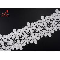 Beautiful Flower White Embroidered Lace Trim For Wedding Dress for sale