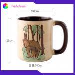 China Stone Ware 580ml Handmade Stoneware Mugs Hand Painted Cute Animals Pattern for sale