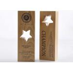 China Wooden Custom Trophy Cup Engraving / Lasing Logo Star Design Awards For Staff for sale