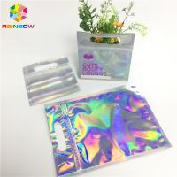 Digital Print Foil Pouch Packaging Clear Front Hologram Zip Lock Bag For Cosmetic Sample for sale