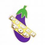 Eggplant Shape Hard Enamel Lapel Pins Custom Size With Epoxy Coating for sale