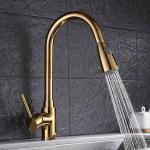 Gold long neck extendable pull out brass kitchen basin faucet  For Hotel Use for sale