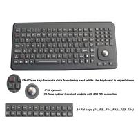 Ruggedized Silicone Rubber Keyboard With Optical Trackball Panel Mount for sale