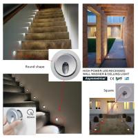 High Power 3 W Mini Recessed LED Wall Lights 3 Years Warranty for sale