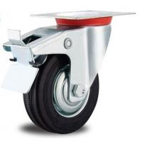 China 4 inch locking rubber caster wheels for trolley for sale