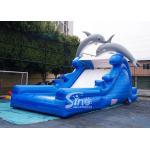 China 5m high cute dolphin kids inflatable water slide with pool from China inflatable factory for sale
