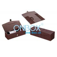 China Foldable Leather Wine Packaging Boxes Display With Magnet Closure for sale