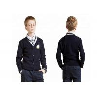 China Navy Blue V Neck School Uniform Sweaters Cardigan Simple Pattern For Boys for sale