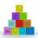 Food Grade Embossed Silicone Rubber Block , Silicone Baby Stacking Blocks for sale