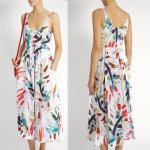 China 2018 New Style Women White-Print Button-Down Simple Cheap Linen Midi Dress for sale