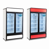 China Cold Drink Showcase Supermarket Upright Showcase Glass Door Freezer for sale