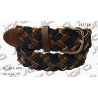 China Tan PU With Navy Webbing Tape Womens Braided Belt With Gold Satine Buckle for sale