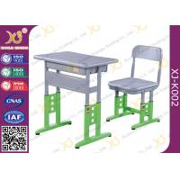 China Adjustable Metal Student School Table And Chairs With Skid Resistance Legs for sale