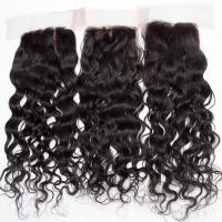Human Hair Swiss Lace Closure Malaysian Hair Extensions 4 X 4 Water Wave for sale