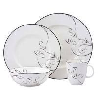 China Black Rim Round Porcelain Dinnerware Sets 16pcs With Decal Printing for sale