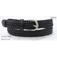 China 2.85cm Black PU Lady Braided Belt With Nickel Satine Buckle & PU Tip for sale
