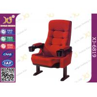 Red Fabric XJ-6819 Fixed Leg Movie Cinema Chairs With Movable Amrest