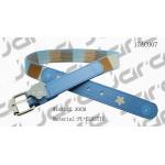 Square Printing Blue Kids Elastic Belts Metal Bear On The Loop Nickel Buckle for sale