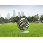 Creative Globe Metal Art Sculpture Stainless Steel Matte Finish Outdoor Square Decoration for sale