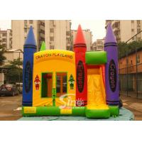 China Hot commercial outdoor crayon inflatable bounce house with basketball ring N slide inside for kids parties supplier