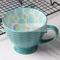 380ml Ceramic Custom Embossed Mugs Stoneware Food Contact Safe Design for sale